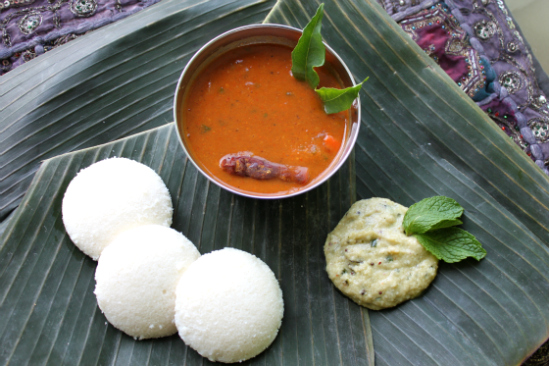 Idli Sambar with Coconut Mint Chutney