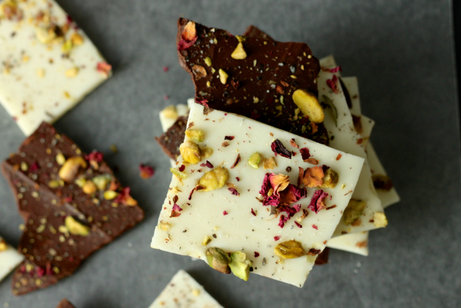 Pistachio Rose Chocolate Bark