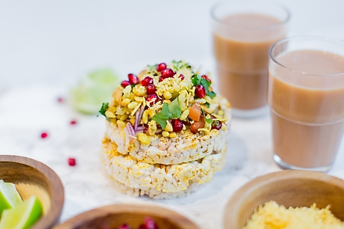 Celebrating Holi with colorful Bhel Puri Cakes, masala rice cakes with heaps of Bhel Puri and Tea India Chai Moments. Chaat and Chai, a perfect jodi.